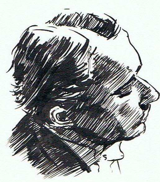Samson François, pianiste dans pinceau encre dessin-0071