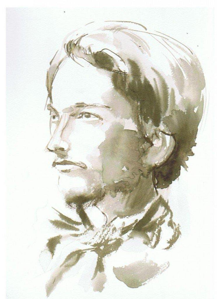 Jacques Maritain jeune dans pinceau encre dessin-744x1024